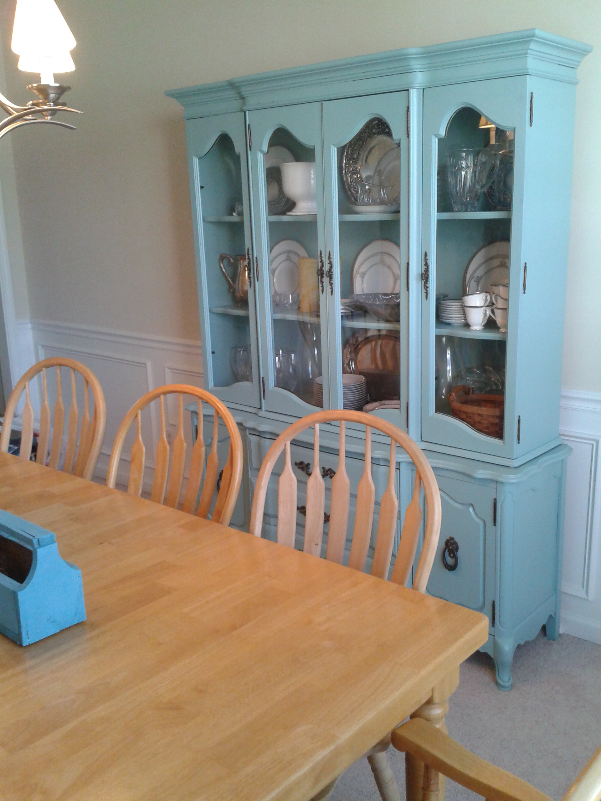 Before And After The CraigsList China Cabinet Goes BLUE