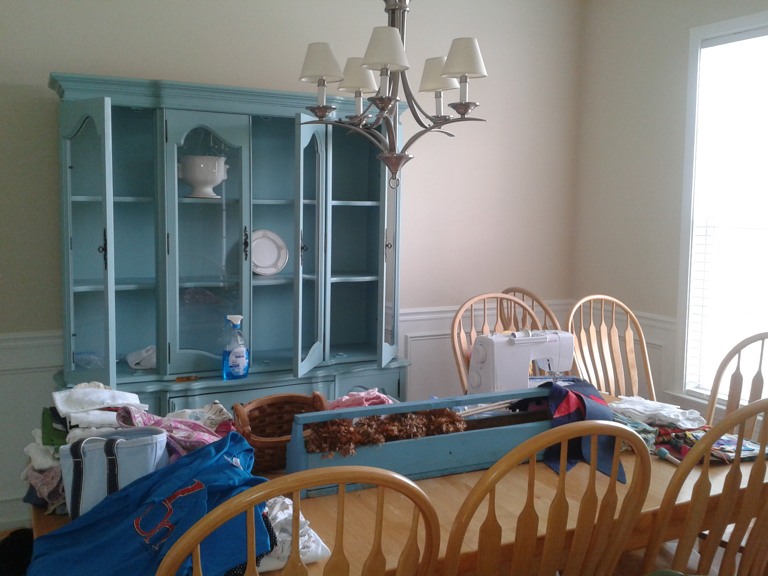 before and after: the craigslist china cabinet goes blue | campclem
