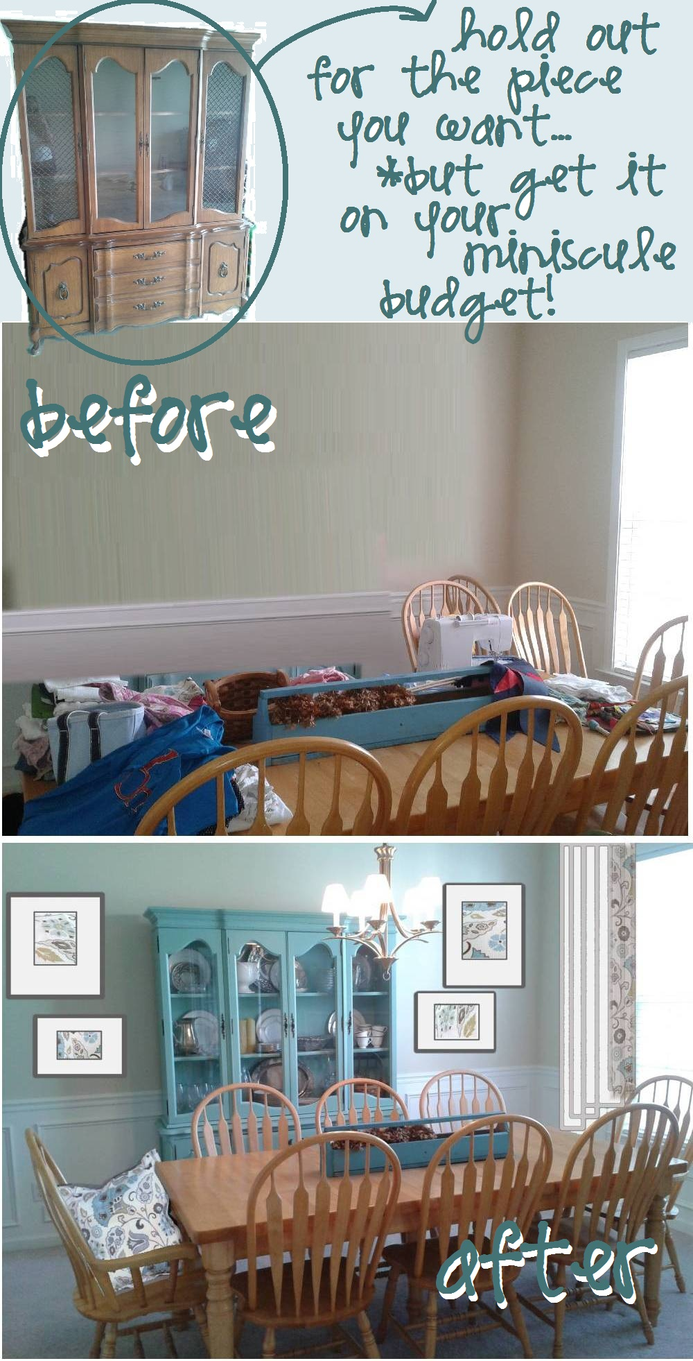 Before And After: The CraigsList China Cabinet Goes BLUE