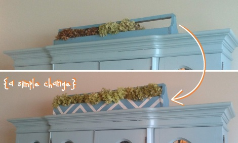 chevron herb trough china cabinet before & after