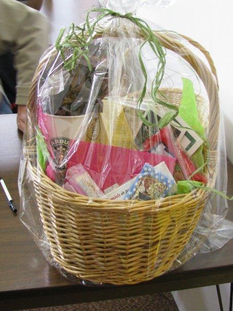 teacher gift basket with spa massage gift card