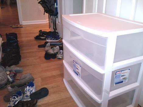 04 mudroom in a closet drawers