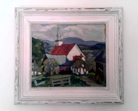 red roof church painting