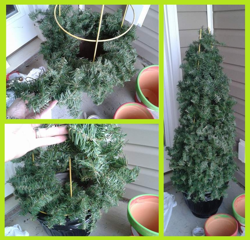 Christmas Trees Made From Tomato Cages: 06 Tomato Cage Tree Wrapping Garland