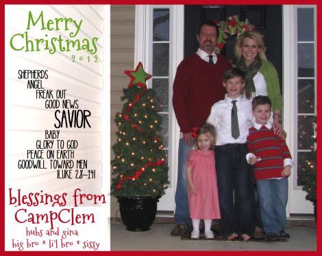 CampClem Christmas card 2012