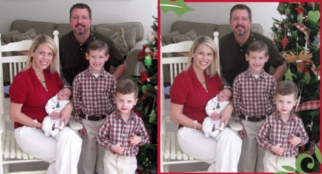 Christmas 2010 card photo before and after