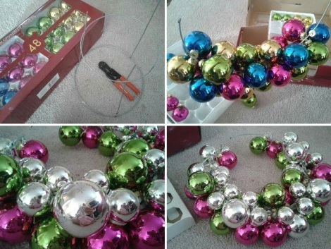 Christmas ornament ball wreath