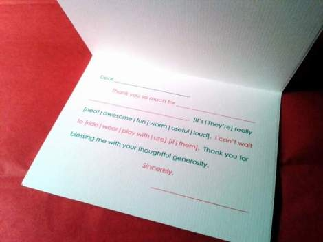 thank you notes headstart black ink