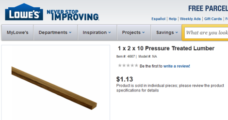 1 x 2 lumber lowes