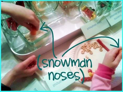 5 melted snowman buffet snowman noses