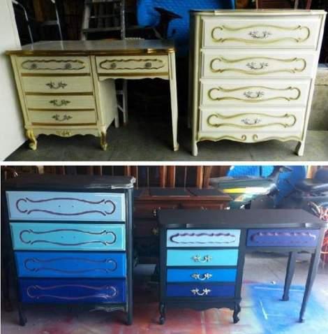booth 121 furniture ombre dresser desk blue before