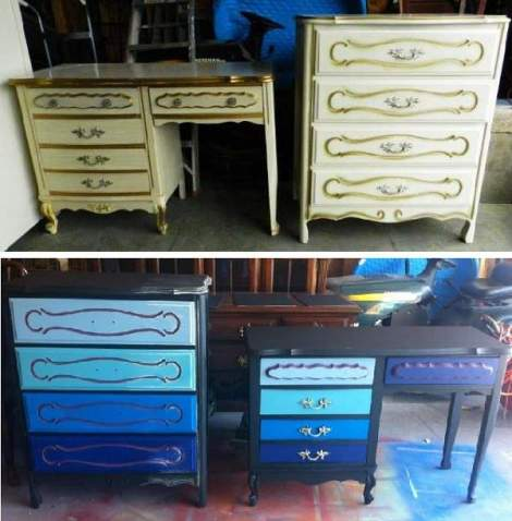 booth 121 furniture ombre dresser desk blue before