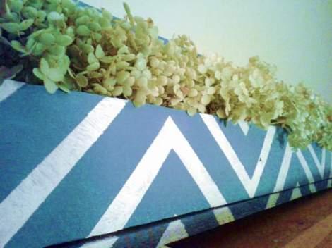 chevron striped DIY herb trough detail