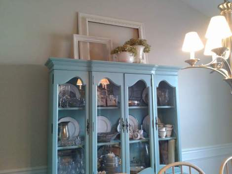 rearranging the top of the china cabinet