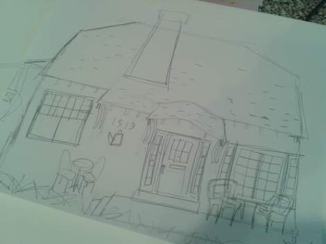03 cottage painting sketch on paper
