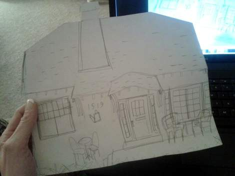 04 cottage painting sketch on canvas