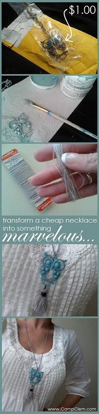 cheapo owl & tassel necklace transformation