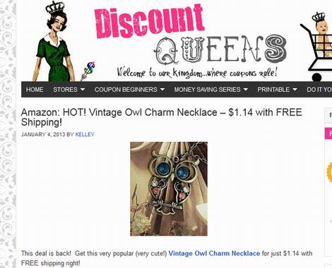 discount queens owl necklace