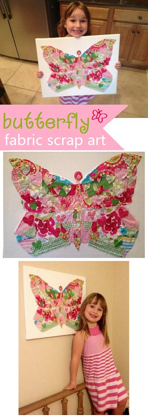 fabric scrap butterfly canvas art