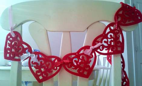 felt heart bunting chair swag
