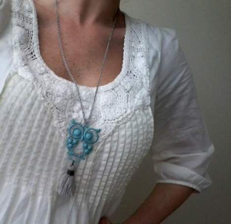 crafty aqua owl and tassel necklace