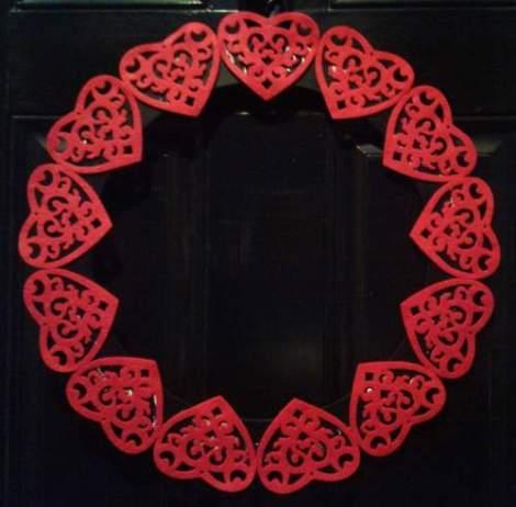 Valentine's felt heart wreath at night