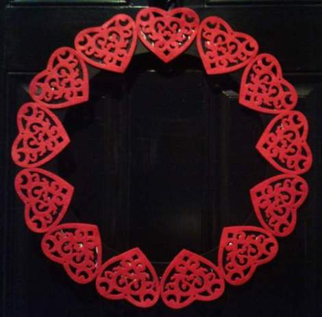Valentine's felt heart wreath at night