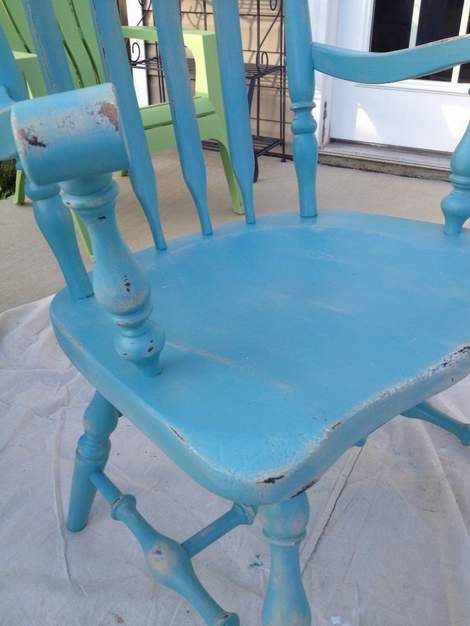 08 aqua distressed chair