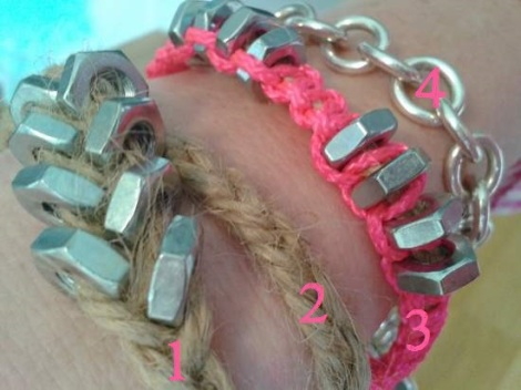 hex nut bracelets on wrist close up