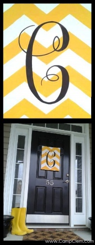 yellow chevron monogram easy DIY