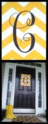 yellow chevron monogram easy DIY