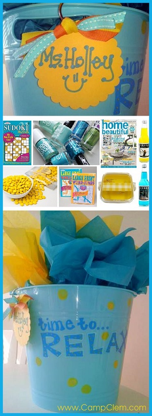 aqua and yellow relax gift basket