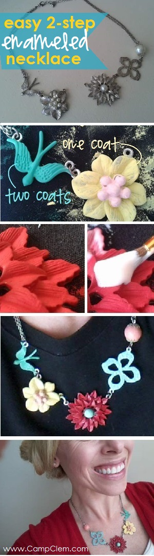 easy DIY enameled necklace