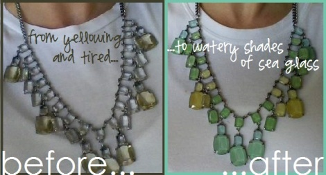 glass and silver necklace makeover before and after