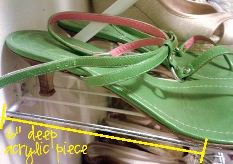 shoe shelf tip acrylic on shelf