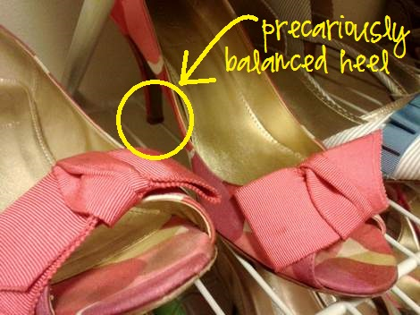 shoe shelf tip heel balanced