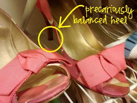 shoe shelf tip heel balanced