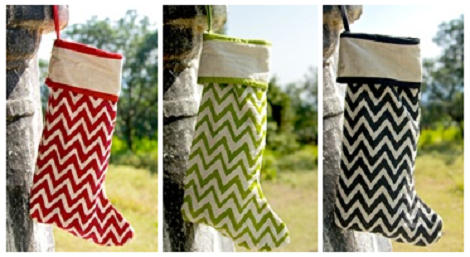 DaySpring - Chevron Block Printed Christmas Stocking
