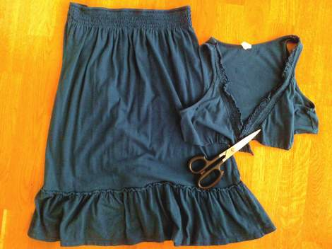 dress to skirt instant no sew makeover cut off top