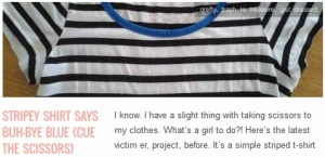 LINK stripey shirt says buh-bye blue {cue the scissors}