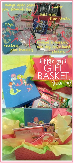 how to put together a pink little girl gift basket