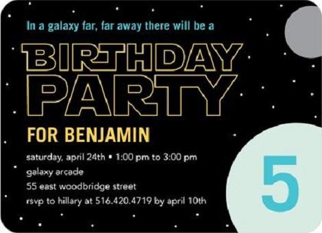 Приглашение на день рождения звёздные войны