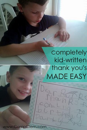 shortcut kid thank you note writing