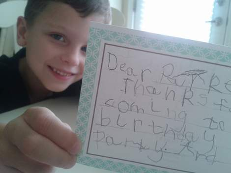 streamlined kid thank you note writing happy boy