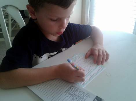streamlined kid thank you note writing in action