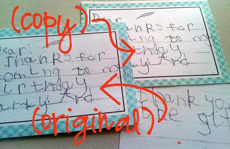 streamlined kid thank you note writing orig and copy