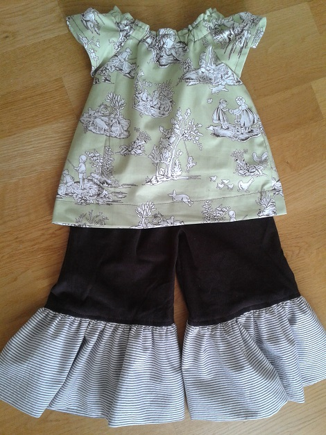 10 Sis sew new outfits green brown adding ruffles