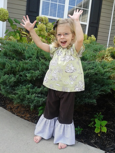 11 Sis sew new outfits green brown ruffled glory