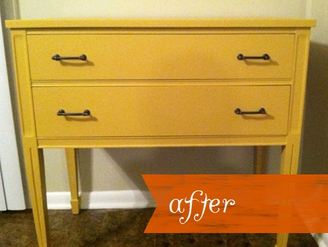 yellow sideboard after
