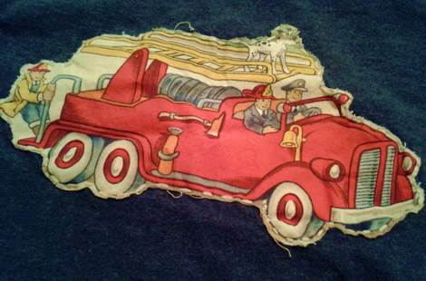 firetruck shirt DIY applique close up